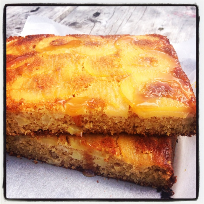 Upside Down Apple and Golden Syrup Cake